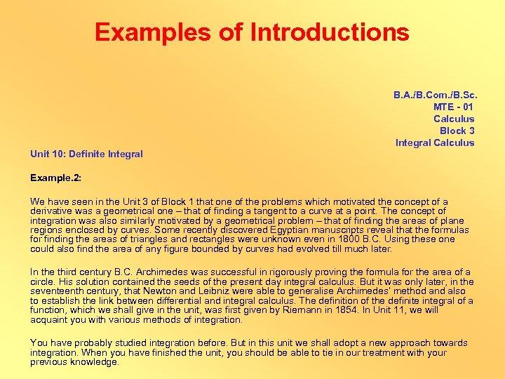 Examples of Introductions B. A. /B. Com. /B. Sc. MTE - 01 Calculus Block
