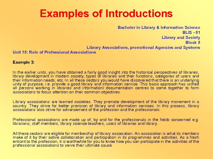 Examples of Introductions Bachelor in Library & Information Science BLIS - 01 Library and