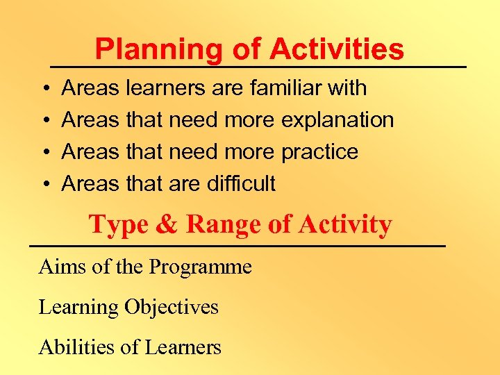 Planning of Activities • • Areas learners are familiar with Areas that need more