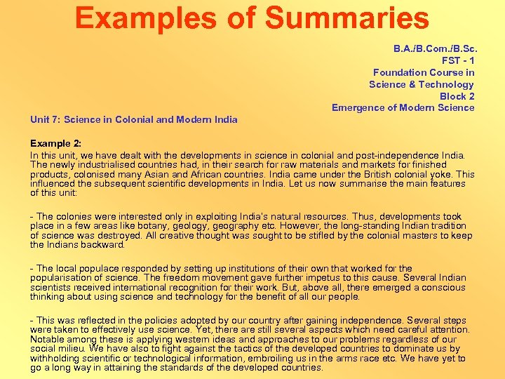 Examples of Summaries B. A. /B. Com. /B. Sc. FST - 1 Foundation Course