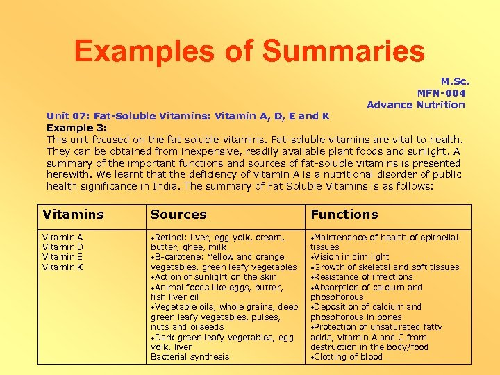 Examples of Summaries M. Sc. MFN-004 Advance Nutrition Unit 07: Fat-Soluble Vitamins: Vitamin A,