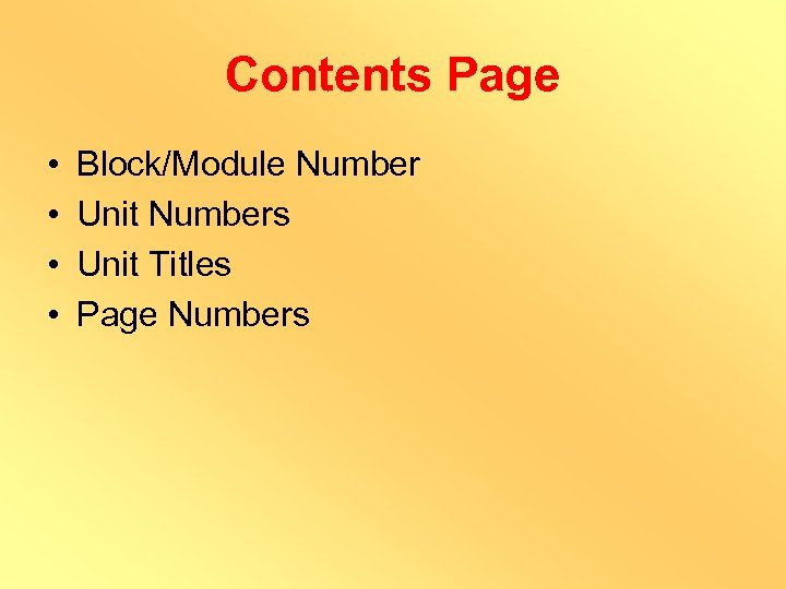 Contents Page • • Block/Module Number Unit Numbers Unit Titles Page Numbers