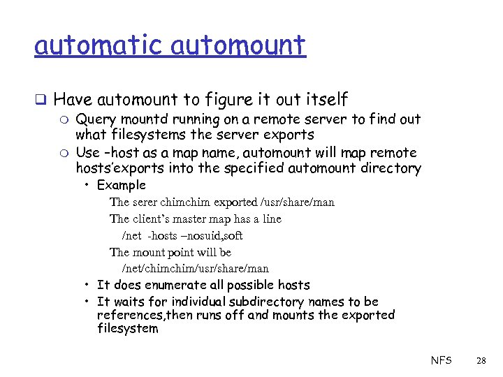 automatic automount q Have automount to figure it out itself m Query mountd running