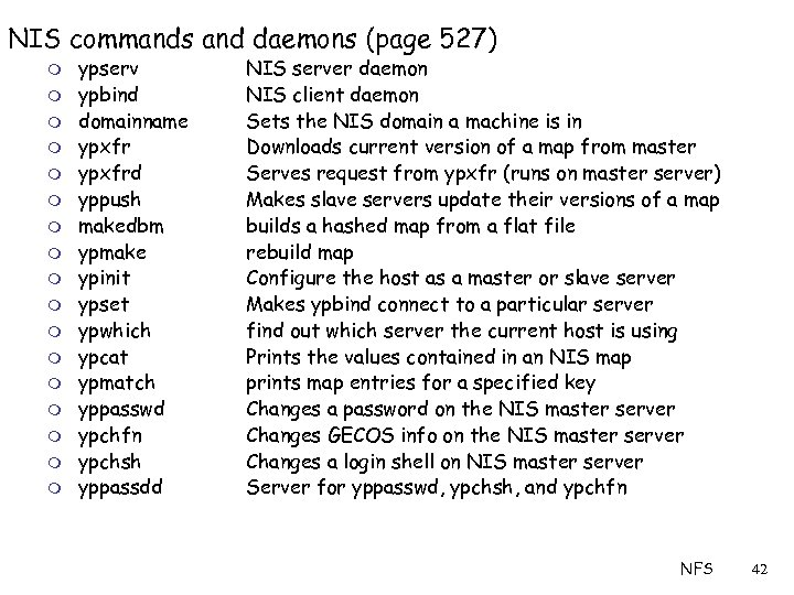 NIS commands and daemons (page 527) m m m m m ypserv ypbind domainname