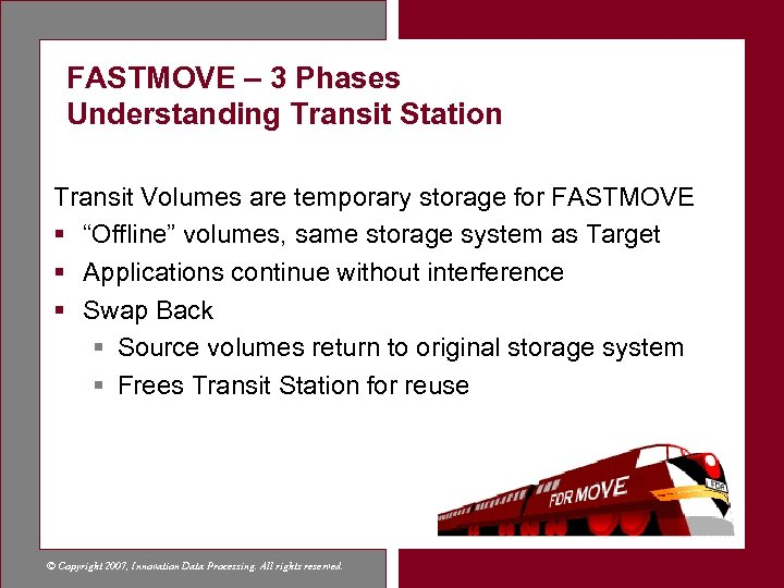 FASTMOVE – 3 Phases Understanding Transit Station Transit Volumes are temporary storage for FASTMOVE