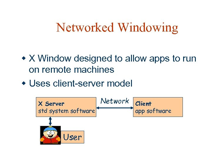 Networked Windowing w X Window designed to allow apps to run on remote machines