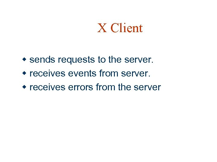 X Client w sends requests to the server. w receives events from server. w