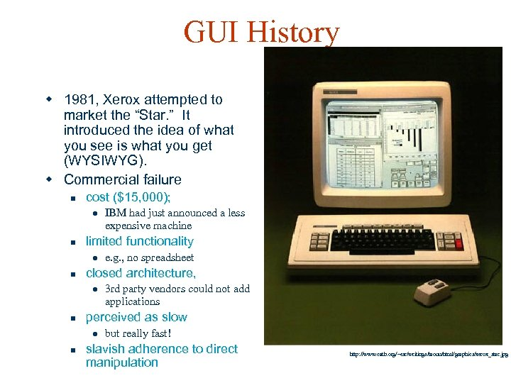 "GUI History w 1981, Xerox attempted to market the ""Star. "" It introduced the"