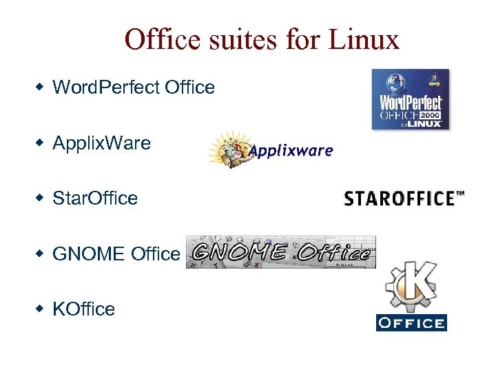 Office suites for Linux w Word. Perfect Office w Applix. Ware w Star. Office