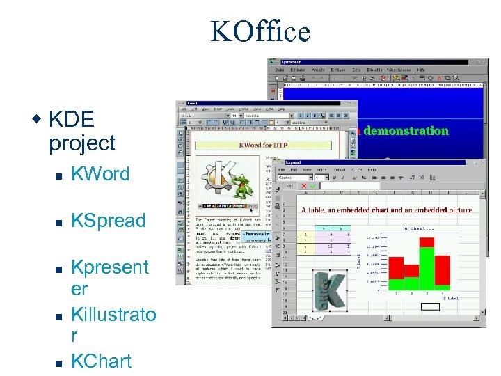 KOffice w KDE project n KWord n KSpread n n n Kpresent er Killustrato