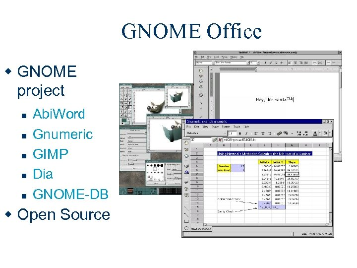 GNOME Office w GNOME project n n n Abi. Word Gnumeric GIMP Dia GNOME-DB