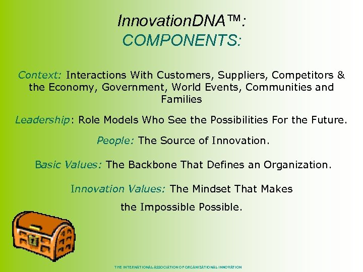 Innovation. DNA™: COMPONENTS: Context: Interactions With Customers, Suppliers, Competitors & the Economy, Government, World