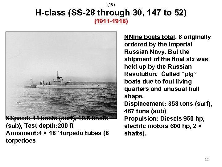 (10) H-class (SS-28 through 30, 147 to 52) (1911 -1918) SSpeed: 14 knots (surf),