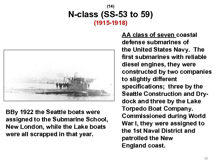 (14) N-class (SS-53 to 59) (1915 -1918) BBy 1922 the Seattle boats were assigned