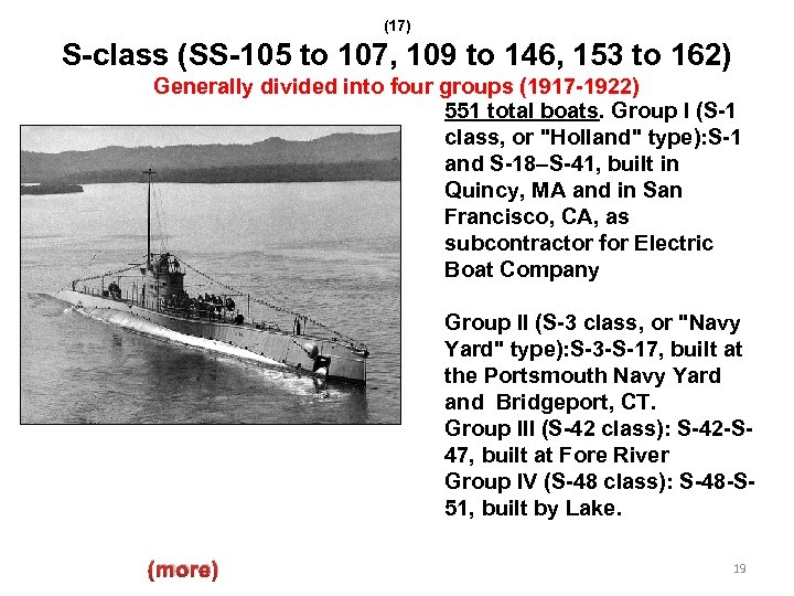 (17) S-class (SS-105 to 107, 109 to 146, 153 to 162) Generally divided into