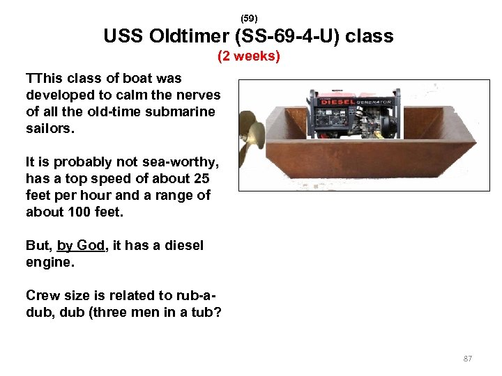 (59) USS Oldtimer (SS-69 -4 -U) class (2 weeks) TThis class of boat was