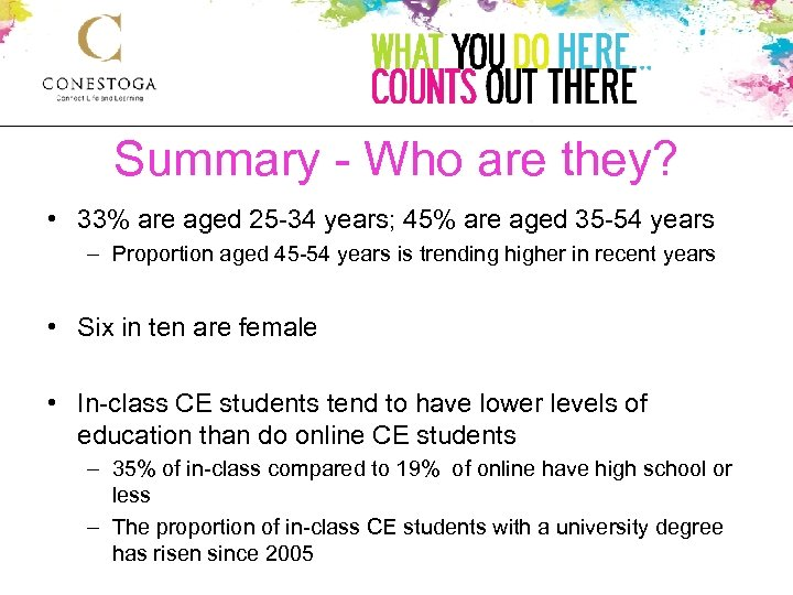 Summary - Who are they? • 33% are aged 25 -34 years; 45% are