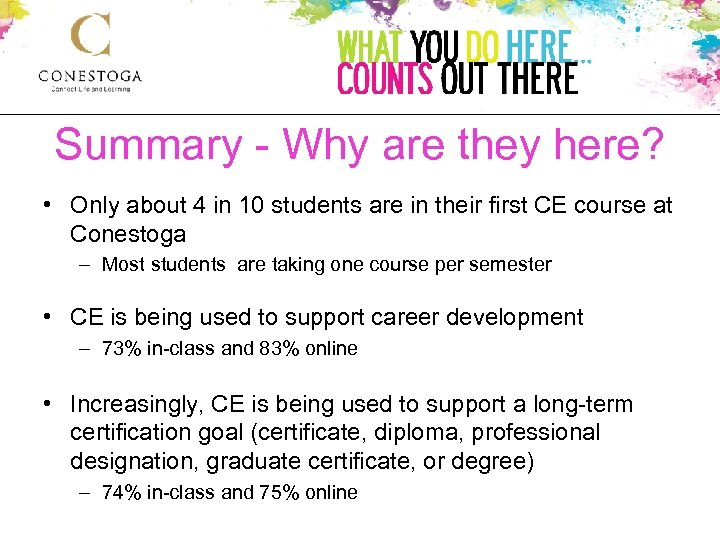 Summary - Why are they here? • Only about 4 in 10 students are