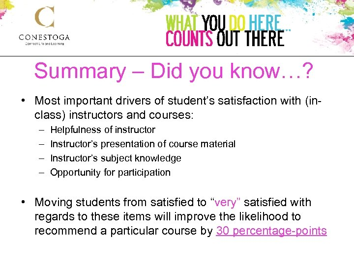 Summary – Did you know…? • Most important drivers of student's satisfaction with (inclass)