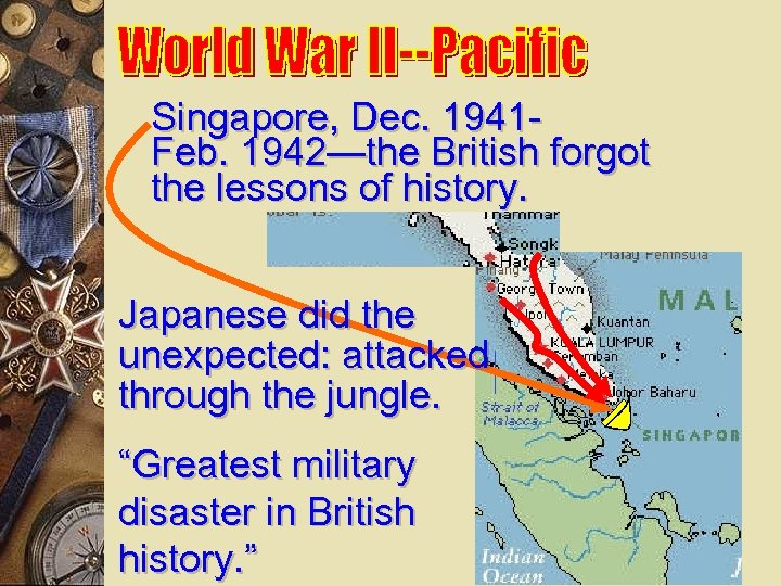 Singapore, Dec. 1941 Feb. 1942—the British forgot the lessons of history. Japanese did the