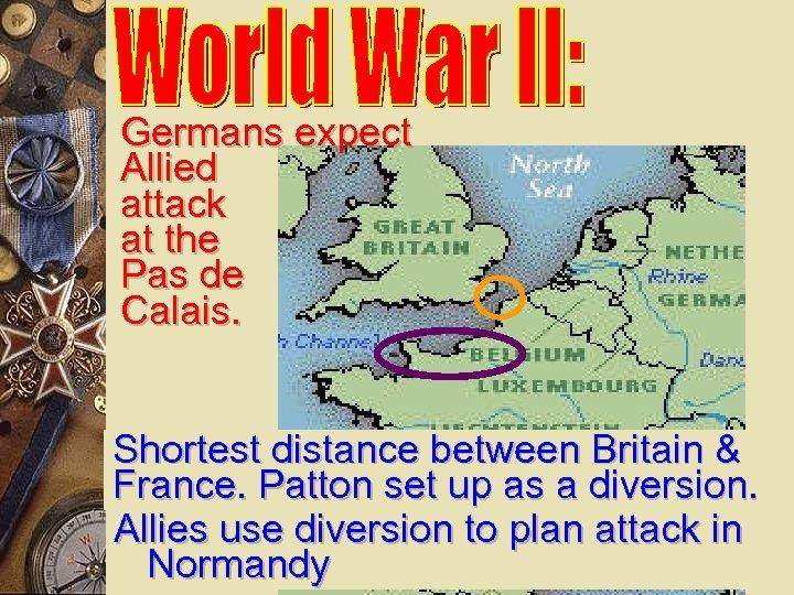 Germans expect Allied attack at the Pas de Calais. Shortest distance between Britain &