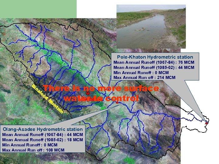Pole-Khaton Hydrometric station Mean Annual Runoff (1967 -84) : 76 MCM Mean Annual Runoff