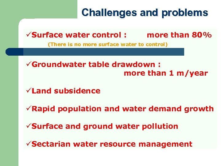 Challenges and problems üSurface water control : more than 80% (There is no more