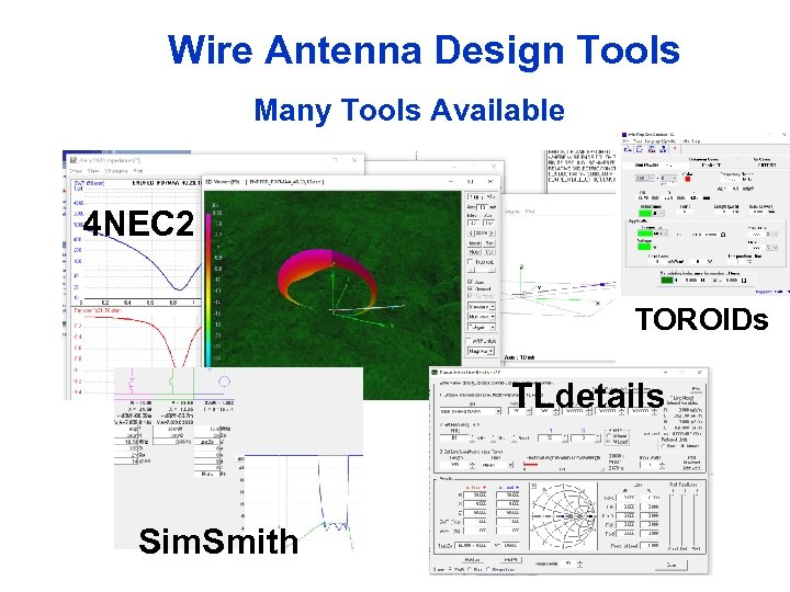 Wire Antenna Design Tools Many Tools Available 4 NEC 2 TOROIDs TLdetails Sim. Smith