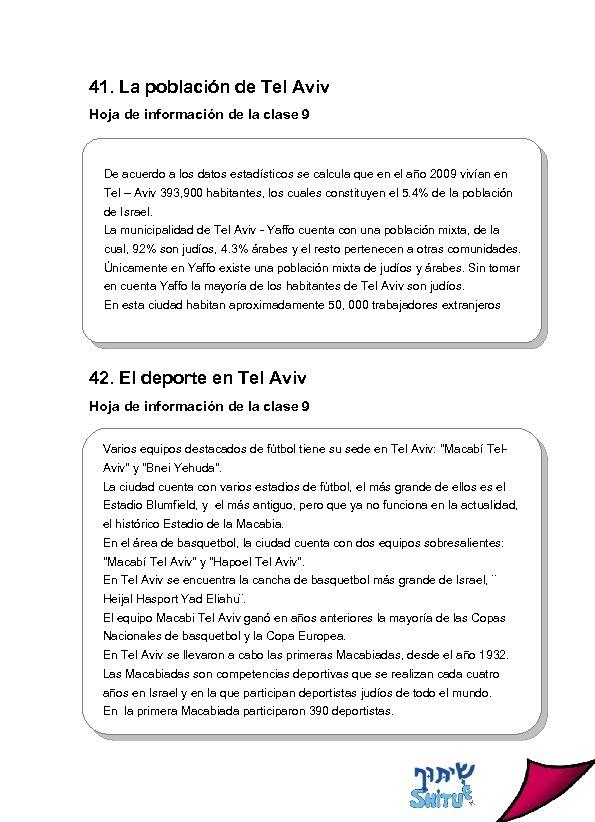 41. La población de Tel Aviv Hoja de información de la clase 9 De