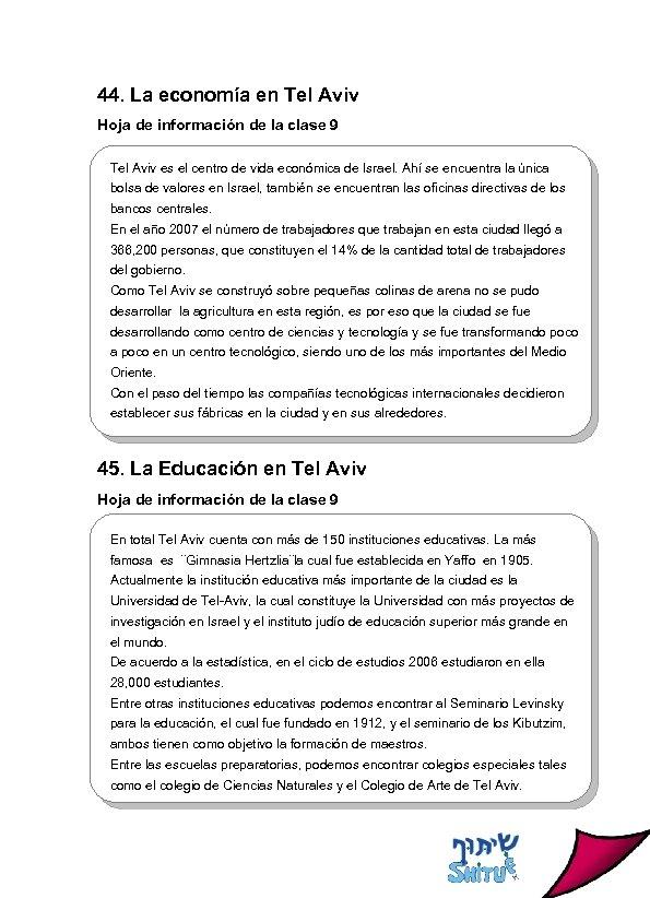 44. La economía en Tel Aviv Hoja de información de la clase 9 Tel