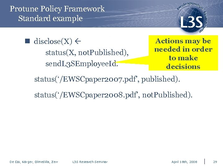 Protune Policy Framework Standard example n disclose(X) status(X, not. Published), send. L 3 SEmployee.
