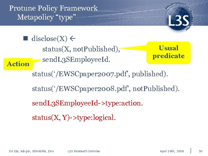 "Protune Policy Framework Metapolicy ""type"" n disclose(X) status(X, not. Published), send. L 3 SEmployee."