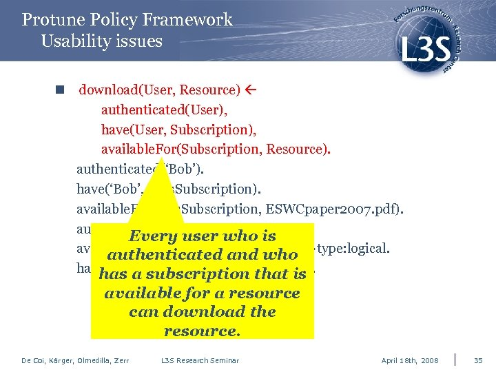 Protune Policy Framework Usability issues n download(User, Resource) authenticated(User), have(User, Subscription), available. For(Subscription, Resource).