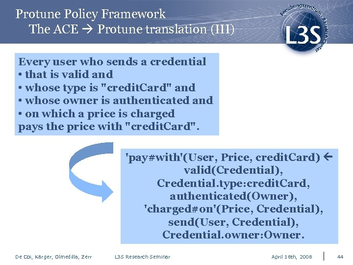 Protune Policy Framework The ACE Protune translation (III) Every user who sends a credential