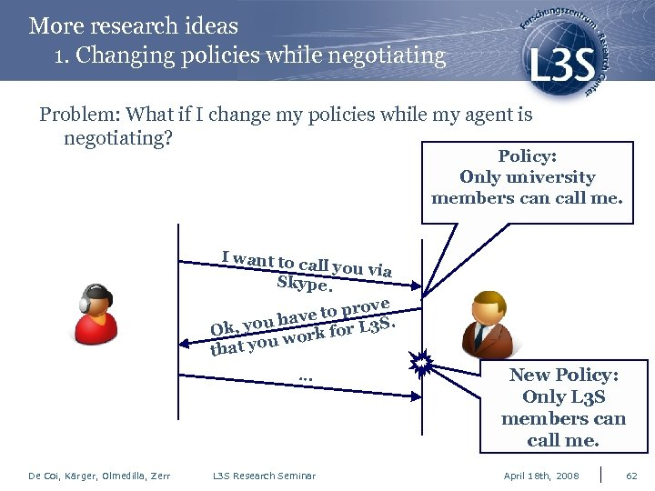 More research ideas 1. Changing policies while negotiating Problem: What if I change my