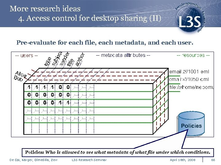 More research ideas 4. Access control for desktop sharing (II) Pre-evaluate for each file,