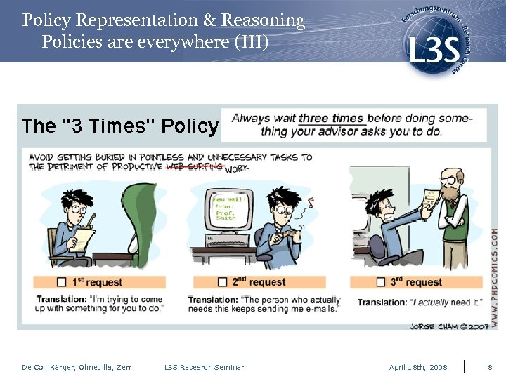 Policy Representation & Reasoning Policies are everywhere (III) De Coi, Kärger, Olmedilla, Zerr L