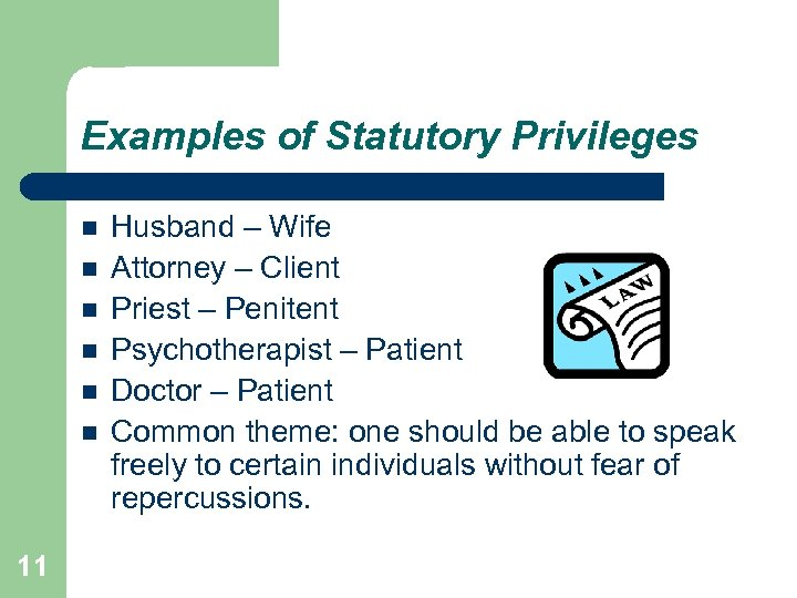 Examples of Statutory Privileges 11 Husband – Wife Attorney – Client Priest – Penitent