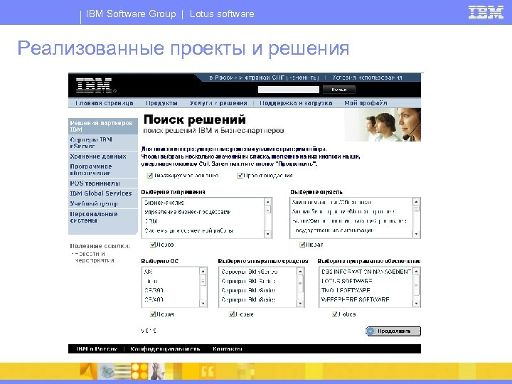 IBM Software Group | Lotus software Реализованные проекты и решения