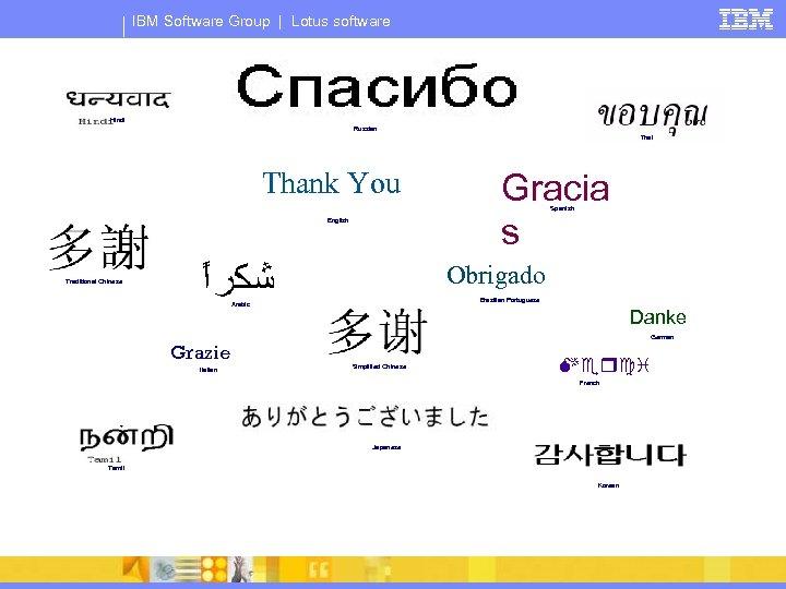 IBM Software Group | Lotus software Hindi Russian Thai Thank You Gracia s Spanish