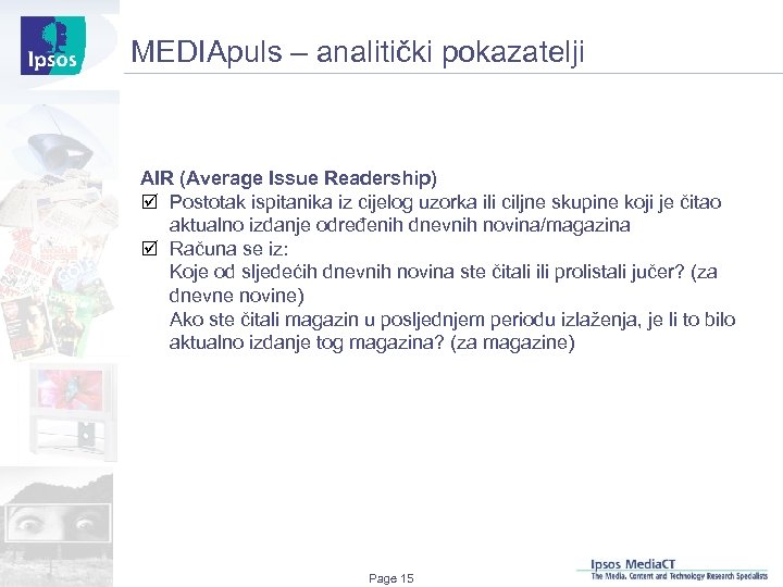 MEDIApuls – analitički pokazatelji AIR (Average Issue Readership) þ Postotak ispitanika iz cijelog uzorka