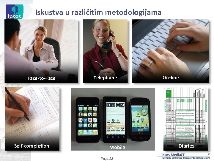 Iskustva u različitim metodologijama Face-to-Face Self-completion Telephone Mobile On-line Diaries 22 Page 22