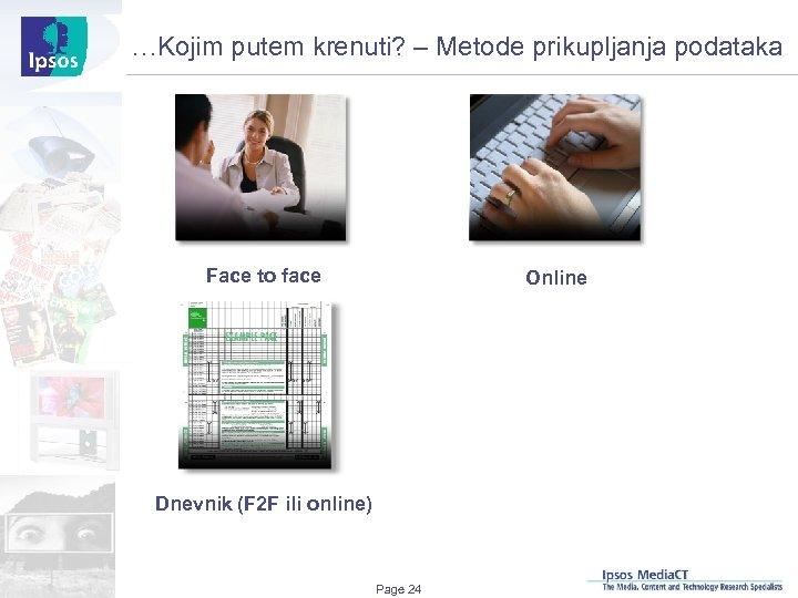 …Kojim putem krenuti? – Metode prikupljanja podataka Face to face Online Dnevnik (F 2