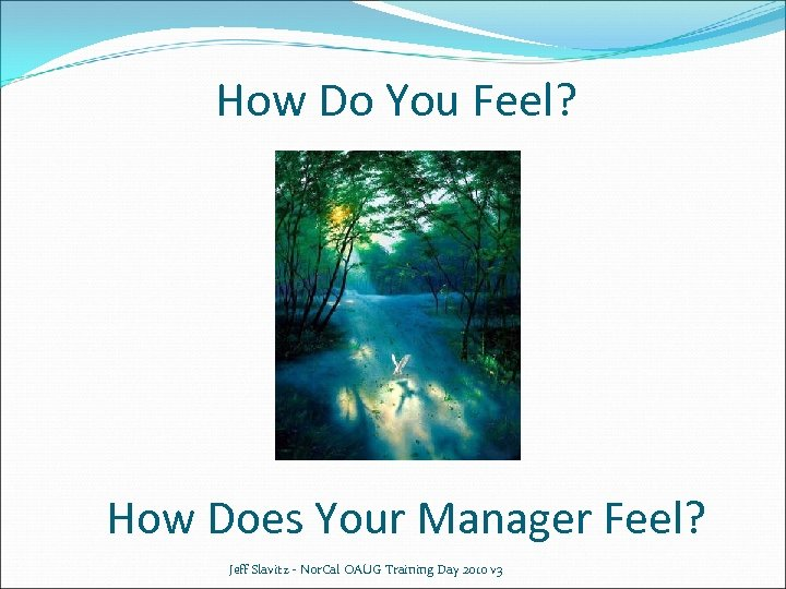 How Do You Feel? How Does Your Manager Feel? Jeff Slavitz - Nor. Cal