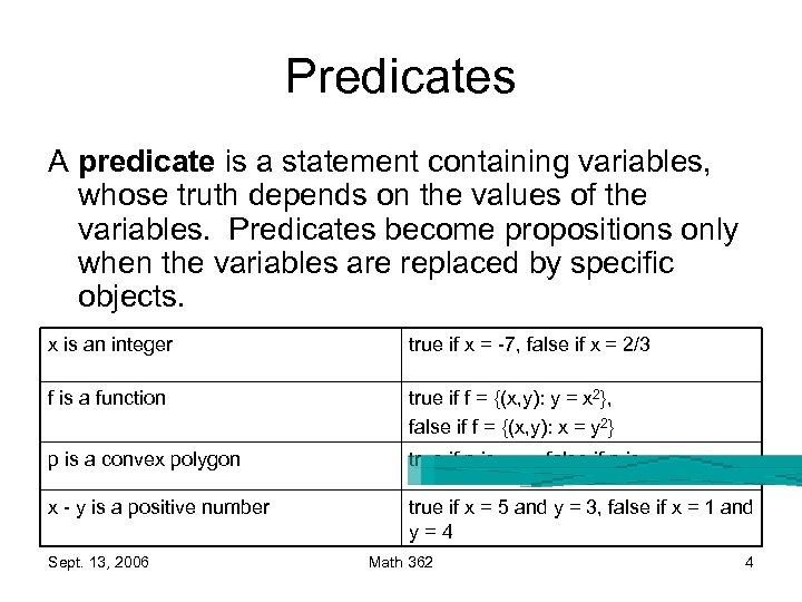 Predicates A predicate is a statement containing variables, whose truth depends on the values