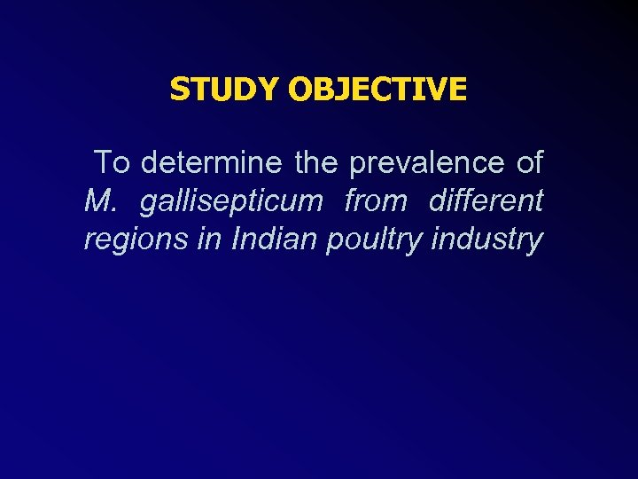 STUDY OBJECTIVE To determine the prevalence of M. gallisepticum from different regions in Indian
