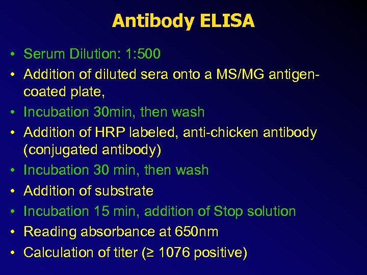 Antibody ELISA • Serum Dilution: 1: 500 • Addition of diluted sera onto a