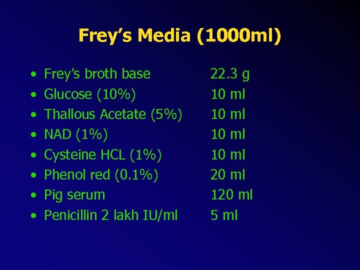 Frey's Media (1000 ml) • • Frey's broth base Glucose (10%) Thallous Acetate (5%)