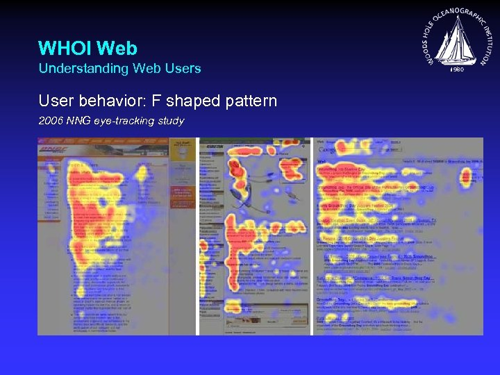 WHOI Web Understanding Web Users User behavior: F shaped pattern 2006 NNG eye-tracking study