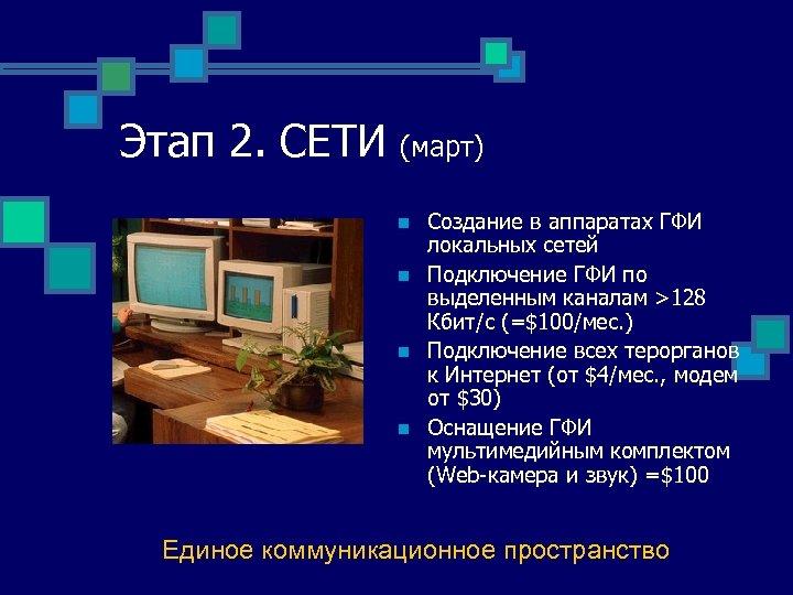 Этап 2. СЕТИ (март) n n Создание в аппаратах ГФИ локальных сетей Подключение ГФИ